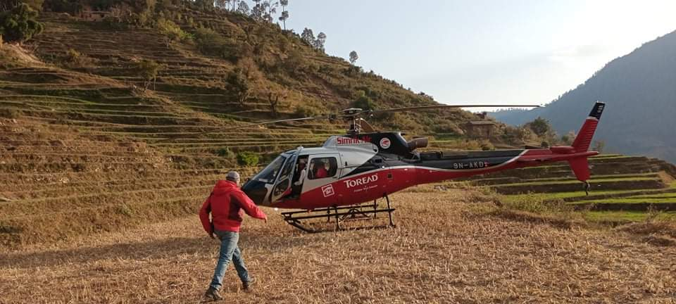 जाजरकोटमा भिरबाट लडेर घाइते महिलाको हेलिकप्टरबाट उद्धार